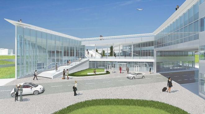Perspective de l'entrée principale du centre d'activités et de services ©ADP